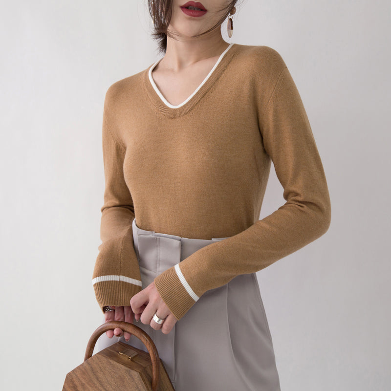 chunky brown knit tops fall fashion V neck knitted blouses Fine slim side open sweaters