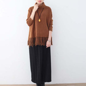 chunky brown knit tops plussize high neck knitted blouses women tassel fall blouse