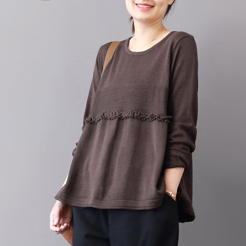 chunky chocolate winter sweater plus size patchwork knitted blouses casual ruffles top