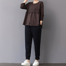 Load image into Gallery viewer, chunky chocolate winter sweater plus size patchwork knitted blouses casual ruffles top