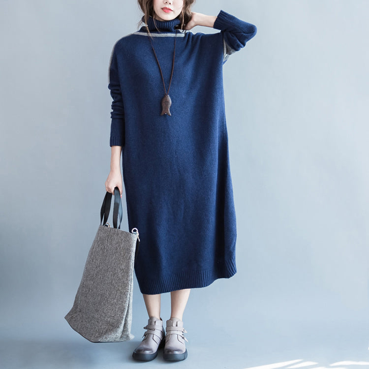 chunky dark blue knit dresses Loose fitting patchwork spring dresses high neck  pullover