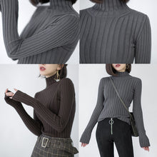 Load image into Gallery viewer, chunky dark gray knit tops plus size high neck sweaters vintage side open winter sweaters