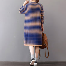 Load image into Gallery viewer, chunky striped sweater dress oversize o neck winter dresses Elegant long sleeve winter dress