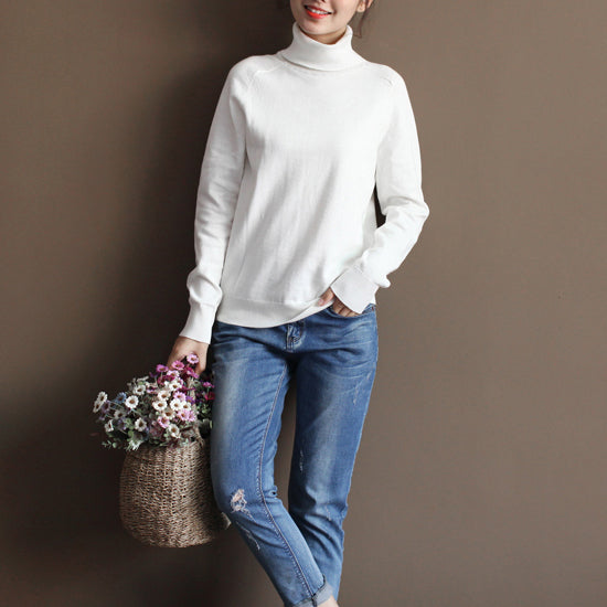 chunky white sweater plus size knitted blouses boutique high neck top wild