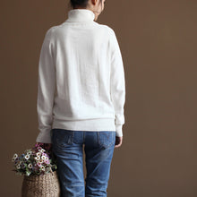 Load image into Gallery viewer, chunky white sweater plus size knitted blouses boutique high neck top wild