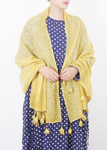 Load image into Gallery viewer, cotton linen scarf shawl casual yellow scarves