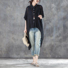 Load image into Gallery viewer, cotton,polyester Elegant summer t shirt oversized Single Breasted Short Sleeve Loose Irregular Black Blouse