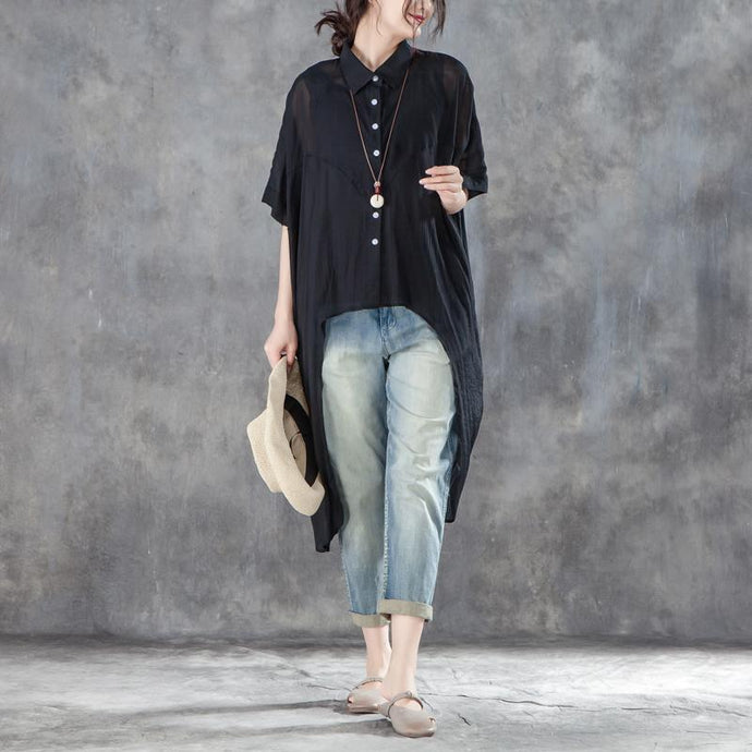 cotton,polyester Elegant summer t shirt oversized Single Breasted Short Sleeve Loose Irregular Black Blouse
