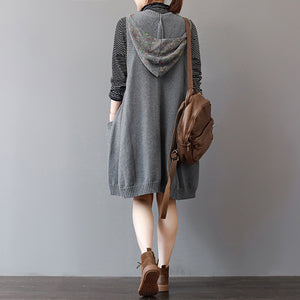 cozy green sweater dress trendy plus size sleeveless pullover sweater casual hooded dress