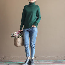 Load image into Gallery viewer, cozy navy knit sweaters fall fashion knitted blouses boutique long sleeve t shirt cotton