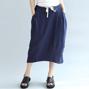 dark blue casual  knitting cotton skirts elastic waist beach skirts