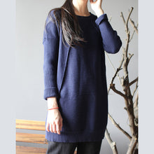 Load image into Gallery viewer, dark blue new cotton sweater tops vintage slim fit mid long knit pullover
