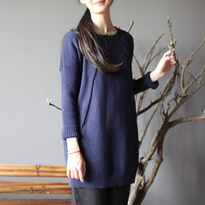 dark blue new cotton sweater tops vintage slim fit mid long knit pullover