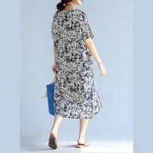 Load image into Gallery viewer, dark blue prints Midi linen dresses plus size clothing women side open v neck midi dress