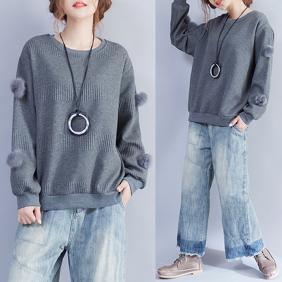 dark gray casual thick knit tops oversize fine pullover sweater