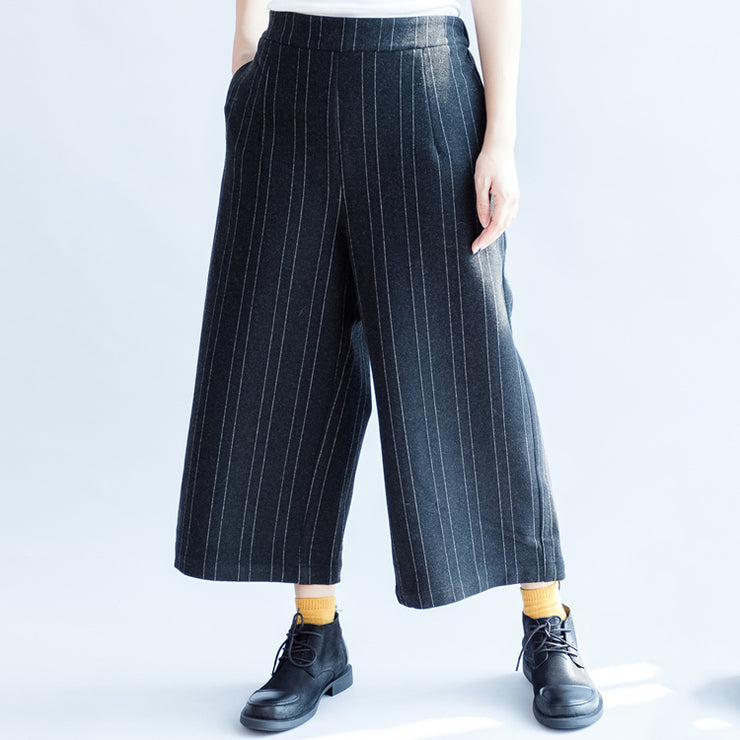 dark gray casual woolen cotton pants fashion striped wide leg pants