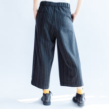 Load image into Gallery viewer, dark gray casual woolen cotton pants fashion striped wide leg pants