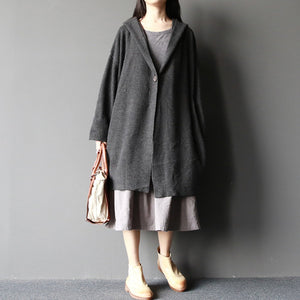 dark gray fashion  woolen sweater coats plus size elegant casual long sleeve knit cardigans
