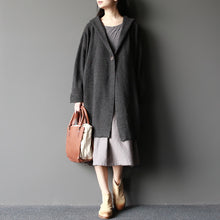 Load image into Gallery viewer, dark gray fashion  woolen sweater coats plus size elegant casual long sleeve knit cardigans