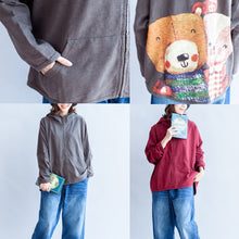 Load image into Gallery viewer, dark gray zippered cotton tops plus size hooded back prints batwing sleeve short coats