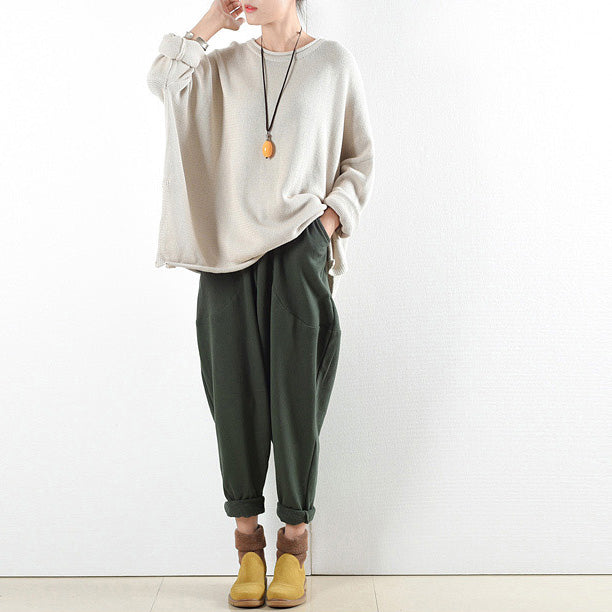 dark green warm cotton winter pants oversized pants 2021