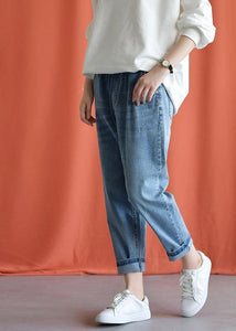 denim blue 2019 new wild elastic waist pants