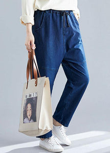 denim blue vintage women pants elastic waist patchwork trousers