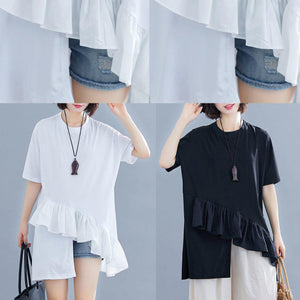 diy Ruffles asymmetric cotton Wardrobes white top summer