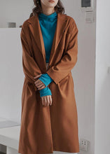 Load image into Gallery viewer, diy brown Fashion tunics for women Gifts lapel collar fall coat
