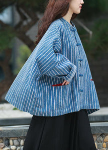diy denim blue striped clothes For Women Gifts stand collar tops