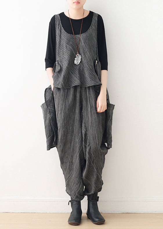 diy gray linen Fitted Work Outfits asymmetric two pieces harem pants A Line spring tops