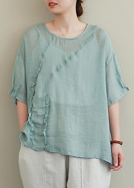 diy green linen tops o neck Ruffles oversized blouses