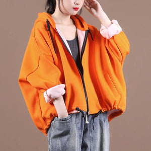 diy hooded drawstring Plus Size fall clothes For Women yellow women coats