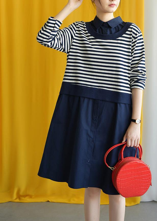 diy navy striped cotton box dress lapel false two pieces Midi fall dress