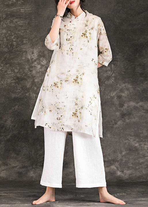 diy nude print linen clothes Boho design v neck Three Quarter sleeve shift Summer Dress