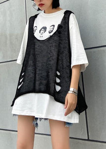 diy o neck Hole summer clothes For Women Wardrobes black tops