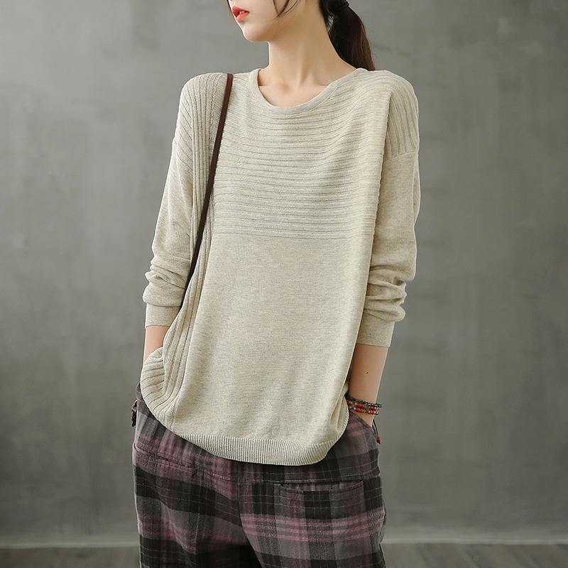 diy o neck linen fall tops women Cotton beige top