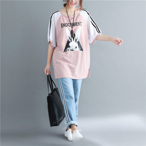 diy pink print cotton clothes For Women Vintage Photography o neck cotton tops