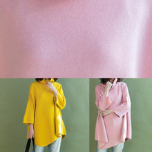 Load image into Gallery viewer, diy pink shirts asymmetric hem wool high neck blouse