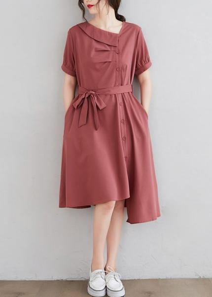 diy red clothes For Women asymmetric pockets daily Dress