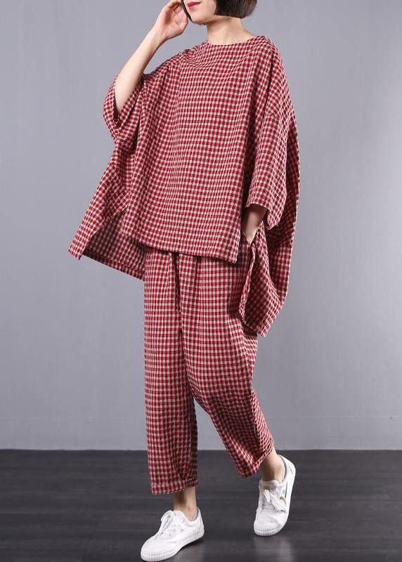 Casual Plus Size Cotton Linen red Plaid Vintage Blouse And Pants Set(Limited Stock)  FREE SHIPPING