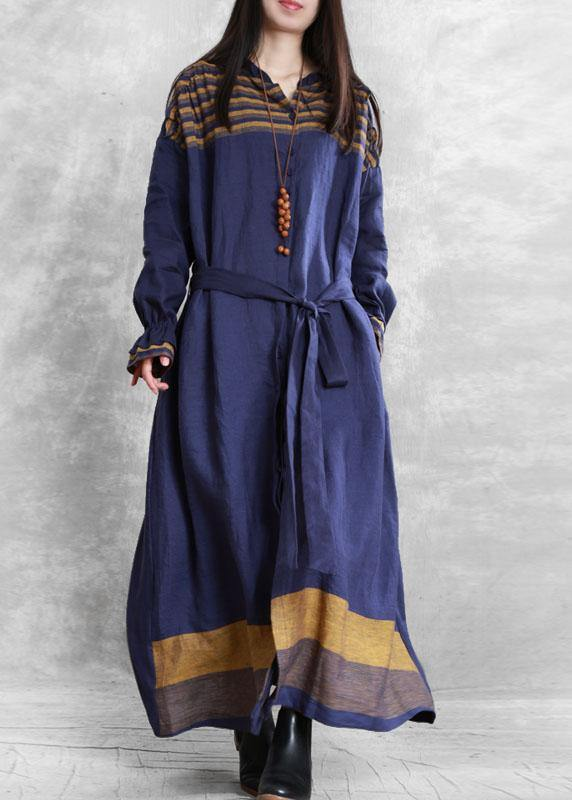 diy stand collar tie waist Plus Size tunic coat blue Midi women coats