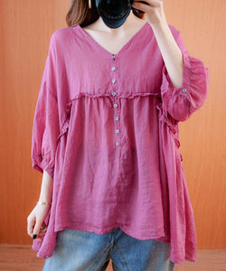 diy v neck lantern sleeve clothes For Women Sleeve rose top