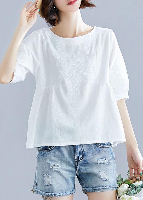 diy white cotton pattern o neck embroidery silhouette summer tops