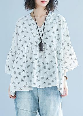 diy white print cotton Blouse Korea Batwing Sleeve v neck tunic Summer shirt