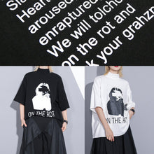Load image into Gallery viewer, diy white print cotton top silhouette half sleeve tunic stand collar shirt