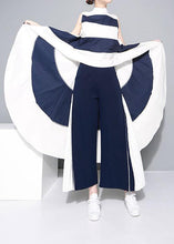 Load image into Gallery viewer, elegant blue chiffon loose wide leg pants loose patchwork trousers