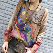 Load image into Gallery viewer, elegant vintage casual women sweater plus size phoenix print longs sleeve knit sweaters