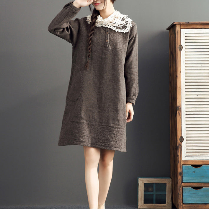 fall 2017 cotton warm dresses oversize o neck linen casual dres