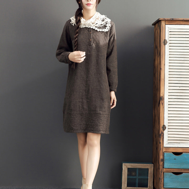 fall 2021 cotton warm dresses oversize o neck linen casual dres
